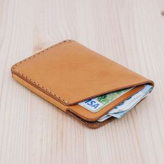 Pocket Card Wallet - Natural oily leather - Handmade leather card holder