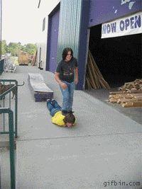 Human skateboard.