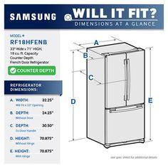 "33""-Wide, 18 cu. ft. Capacity Counter Depth French Door Refrigerator (Stainless Steel) 24"" main and 30"" to door handle. pretty big handle..."