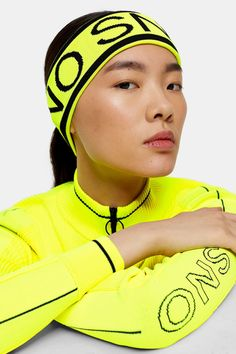 This neon yellow logo headband by Topshop Sno is the ultimate finishing touch to your skiing look. We love this stylish addition to your collection. Black And White Logos, Best Skis, Ski Wear, Sweaty Betty, Ski Fashion, Winter Sports, Neon Yellow, Bag Accessories, Headbands