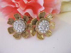 Vintage Kramer Flower Earrings Rhinestone by Sisters2Vintage, $24.00