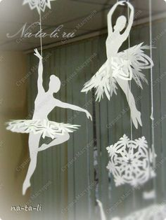 9 Ladies dancing? Master class Cut silhouette: Snowflakes-Ballerina Paper New Year.  Photo 3