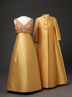 Evening dress and coat, Molstad & Co, 1968, worn by Queen Sonja of Norway