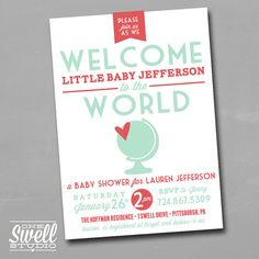 Welcome to the World DIY Printable Baby Shower Invitation by oneswellstudio, $12.50