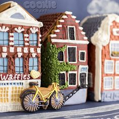 gingerbread houses with bike Cookie Cottage, Cookie House, House Cake, Gingerbread House Designs, Gingerbread Decorations, Gingerbread Houses, Gingerbread Christmas Tree, Christmas Cookies, Christmas Holidays