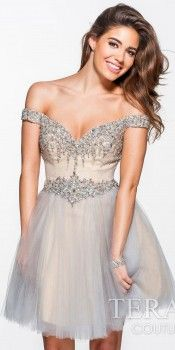 Off-Shoulder Homecoming Dress by Terani Couture