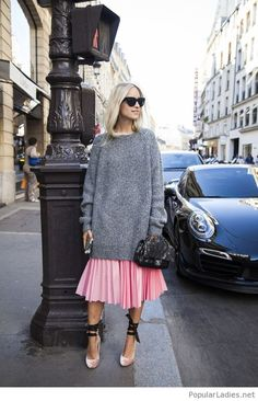 Grey sweater and pink dress