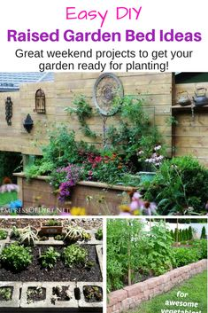 Easy, DIY Raised Garden Bed Ideas. Great weekend projects to get your garden ready for planting. Some of these raised bed ideas are genius, such as using cinder blocks. A great way to save your back when gardening your vegetables or flowers. #gardening