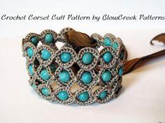 Crochet Pattern Corset Cuff Bracelet Crochet by GlowCreekPatterns