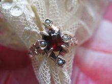 Antique Garnet seed Pearl Ring 10K