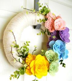 Think Spring!: 12 inch Felt and Yarn Wreath