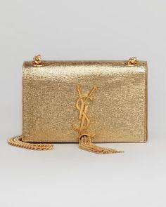 Saint Laurent - Cassandre Small Tassel Crossbody Bag, Gold