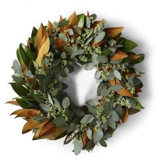 Magnolia & Seeded Eucalyptus Wreath #williamssonoma