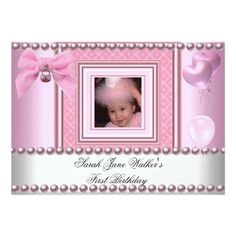 1860 best baby girls 1st birthday party invitations images on 1st birthday girl pink white pearl photo first 5x7 paper invitation card stopboris Images