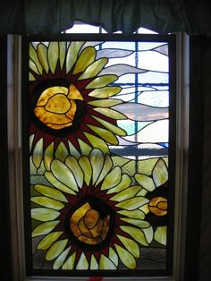 Etsy quietnightstudio large stained glass sunflower window - Stylehive