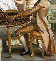 Vittorio Reggianini - The recital, dettaglio Victorian Paintings, Rococo Fashion, Satin Roses, Royal Palace, Visual Effects, Instrumental, Antique Art, Arts, Beautiful Images