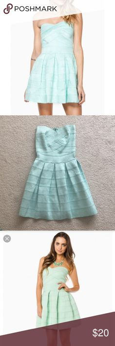 """L'Atiste by Amy cupcake dress in mint An adorable """"cupcake"""" or """"bandage"""" or whatever you want to call it dress by the brand """"L'Atiste by Amy"""" bought through the online boutique Shopsosie. It was so cute when I bought it but I never wore it bc it ended up being a little too tight on me lol. What a bummer. Brand new dress that just sat in my closet for years. It's a size small and the back has a black zipper line, just a warning. l'atiste by amy Dresses"""