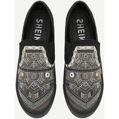SheIn(sheinside) Geometric Pattern Low Top Sneakers ($33) ❤ liked on Polyvore featuring shoes, sneakers, round toe sneakers, black flatform shoes, black trainers, low top and geometric shoes