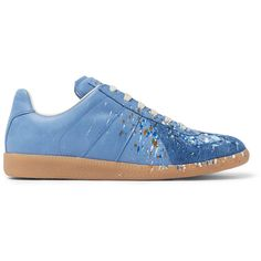 Maison Margiela Replica Paint-Splattered Suede and Leather Sneakers ($595) ❤ liked on Polyvore featuring men's fashion, men's shoes, men's sneakers, mens suede sneakers, mens leather sneakers, mens leather shoes and mens suede shoes