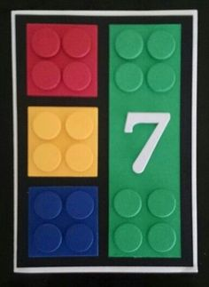 Stampin Up Lego Card. Made using square and circle framelits and alphabet typeset. Lego Birthday Cards, Birthday Cards For Boys, Bday Cards, Handmade Birthday Cards, Lego Card, Scrapbook Cards, Scrapbooking, Punch Art Cards, Hand Stamped Cards