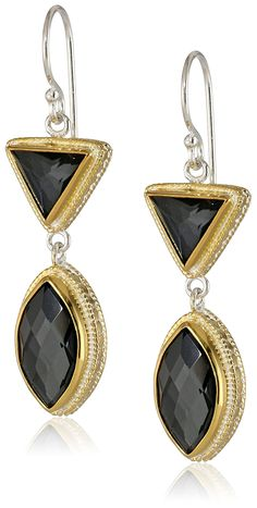 "Anna Beck Designs ""Gili Hematite"" Gold Plated Double Drop Earrings"