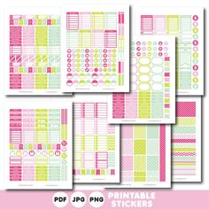 Pink green and mint printable monthly and weekly planner stickers kit, STI-396