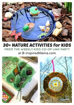 30+ Nature Crafts and Activities for Kids + The Weekly Kids Co-Op Link Party at B-Inspired Mama: