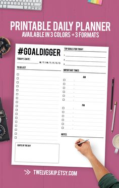 Daily Planner Printable - Achieve Your Goals Using This Kick-Ass Printable PDF Planner!
