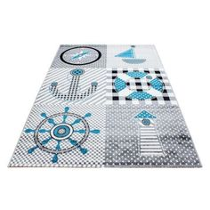 Lachlan Grey Indoor / Outdoor Rug Longshore Tides Rug Size: Rectangle 80 x Shabby Chic Design, Tapis Design, Design Design, Rug Shapes, Indoor Outdoor Rugs, Rug Size, Playroom, Blue Grey, Outdoor Blanket