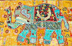 Indian Wall Hanging elephant tapestry /Indian home decor/ applique patchwork Table Cloth runner /animal wall Hanging tapestry antique art