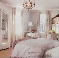 Paris on the Texas Coast ~ French Design In & Around Houston ~ See it, buy it, live it Blue And Cream Bedroom, Pink Master Bedroom, Cream Bedrooms, All White Bedroom, White Bedrooms, Master Bedrooms, Bedroom Furniture, Bedroom Decor, Bedroom Ideas