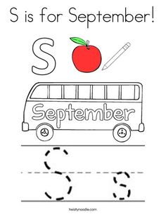 S is for September Coloring Page - Twisty Noodle Kindergarten Themes, Kindergarten Math Worksheets, Preschool Learning Activities, Homeschool Kindergarten, Classroom Activities, Kids Learning, Homeschooling, Childhood Education, Kids Education