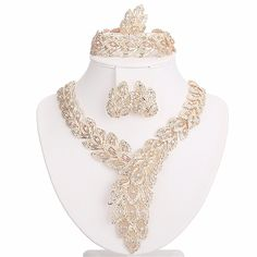 Moochi 18K Gold Plated Big Scarf-Shaped Crystal Chain Jewelry Set Africa Beads >>> Visit the image link more details.
