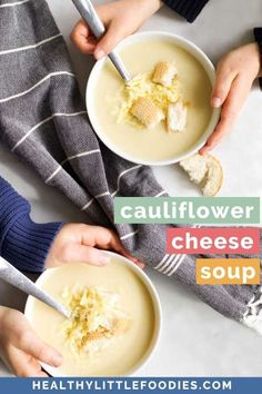This Cauliflower Cheese Soup is deliciously creamy without any cream required. Cheese makes a great addition but if you are looking for a dairy free version it still tastes amazing without. Great for the whole family and loved by kids and babies. Vegetarian Finger Food, Vegetarian Meals For Kids, Healthy Toddler Meals, Vegetarian Recipes, Soups For Kids, Vegetable Recipes For Kids, Easy Cooking, Cooking Recipes, Cauliflower Cheese Soups