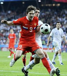 Russia 1 Greece 0 in 2008 in Salzburg. Ivan Saenko runs out of pitch in Group D at Euro 2008.