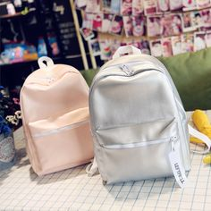 Korean Ulzzang School Bag Soft Sister English Letter Print Siliver PU Backpack Harajuku Preppy Style Shoulder Bag For Teens 2017