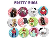 "54 images digitales pour cabochons  ""Pretty girls"""