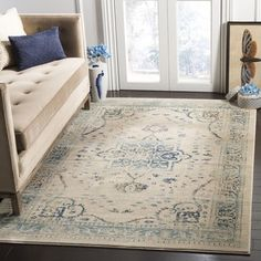 Shop for Safavieh Evoke Vintage Oriental Medallion Beige  Turquoise  Distressed Rug - 8  x 10 . Get free shipping at Overstock - Your Online  Home Decor ... 18ae93e844
