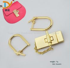 (10 PC/lot) metal plating processing leather handbags alloy straps links D mortise lock buckle decorative accessories