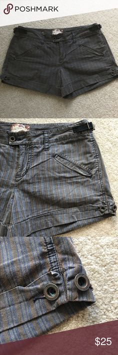 """Free People Brown Industrial Striped Shorts Free People Brown Striped Shorts - Size 10. Industrial hardware accents. Slightly faded from wear. Waistband: 36"""" // Inseam: 3.5"""" // No stains or tears Free People Shorts"""