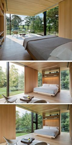 This bedroom has a small sitting area next to the floor-to-ceiling windows.Also the wood panels slide, providing privacy when needed. Floor To Ceiling Windows, Modern House Design, Modern Bedroom, Minimalist Bedroom, Home Interior Design, Interior Architecture, Sitting Area, House Plans, New Homes