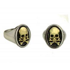 El Rana Silver Ring Man Skull Bones Gold - Anelli Uomo Argento - El Rana - Anelli Argento - El Rana - Silver Collection - El Rana - Tattoo Supply : Ingrosso forniture per tatuatori firmato Micromutazioni