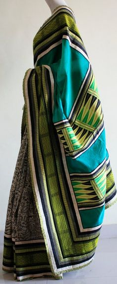 green  turquoise saree by MORA. The pattern looks African to me. On a long train ride, you could keep your kids entertained with a game of backgammon!