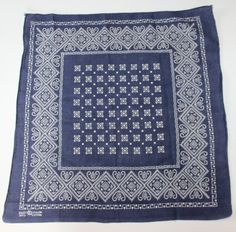 Vintage Blue Bandana, Elephant Trunk Up, Have a Hank, Made in USA by ilovevintagestuff on Etsy
