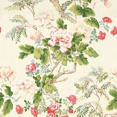 Chinese Peony Rose by Lee Jofa Fabric Verdmont Linen Thailand Medium Horizontal: inches and Vertical: inches 53 inches - Fabric Carolina - Floral Upholstery Fabric, Gold Fabric, Drapery Fabric, Green Fabric, Floral Fabric, Curtains, Fabric Decor, Illustration Blume, Peony Rose