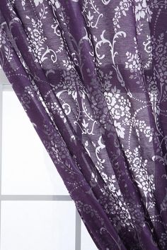 I like this. Purple and Gray Bouquet Burnout Curtains.