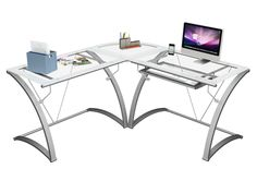 "$287.00 Z-Line Designs Kora ""L"" Computer Desk This contemporary ""L"" desk features a silver powder coat frame. Clear tempered safety glass with frosted border provides a spacious desktop work space. The pull out keyboard provides additional storage and tucks away when not in use."