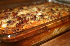 A yummy breakfast casserole that can be put together at the last minute - hash browns, sausage or ham, onion, bacon, milk, eggs, salt and pepper - what more could you want to start the day?!