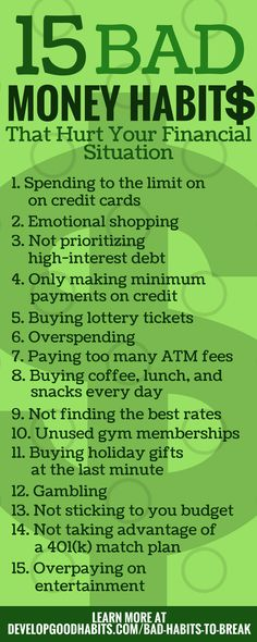 15 Bad Money Habits - That cause overpending and have a huge negative impact on your finances --- Part of 283 Bad habits you need to get rid of.... Money | Money problems | Money Issues | Money routines | Budget | budgeting | saving | savings | frugal living | spending | control spending | emotional shopping | overspending | late fees | overpaying | atm fees | wasting money