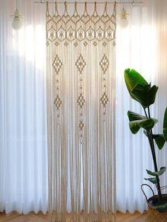 Wall Hanging Designs, Woven Wall Hanging, Tapestry Wall Hanging, Wall Tapestries, Curtain For Door Window, Door Curtains, Shower Curtains, Shower Window, Macrame Mirror